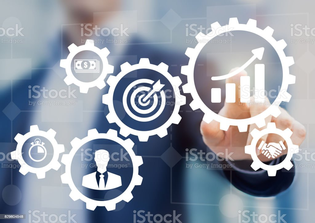 Business process management and workflow automation flowchart, gears, icons, manager stock photo