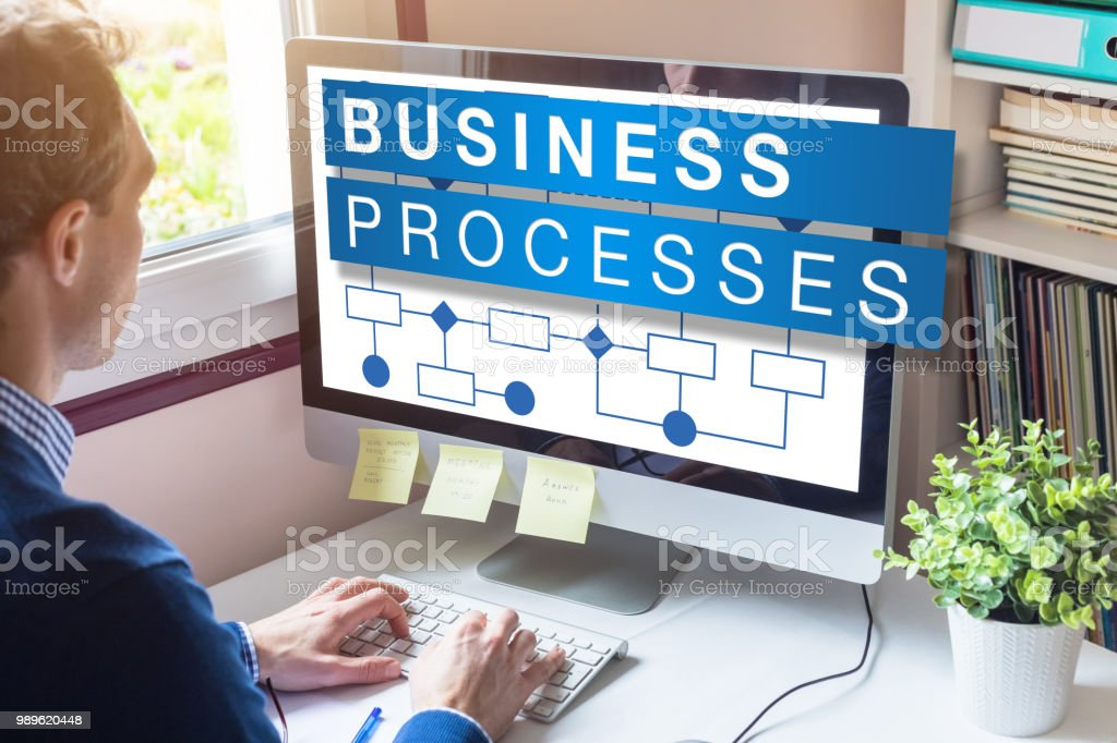 Business process management concept on computer screen with workflow...