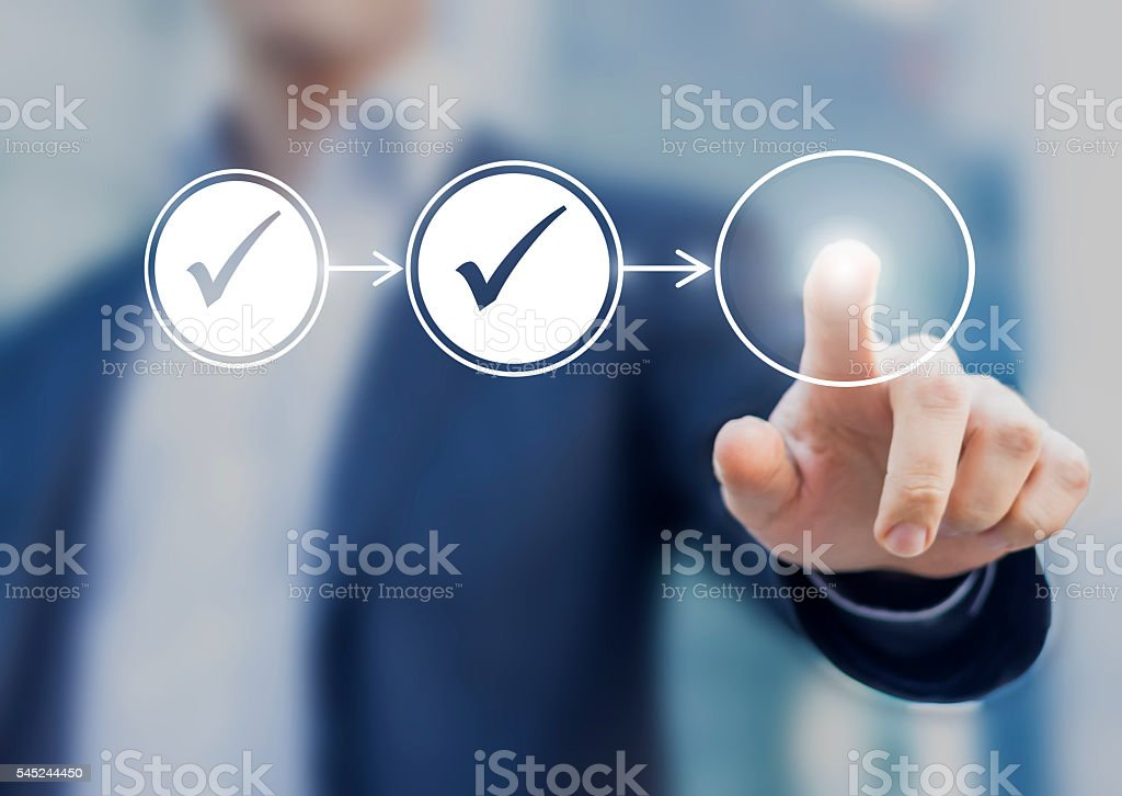 Business process workflow illustrating management approval Business process workflow illustrating management approval, flowchart with businessman in background Adult Stock Photo