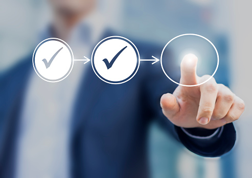 Business Process Workflow Illustrating Management Approval Stock Photo - Download Image Now