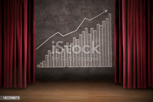 istock Business profit bar chart on stage 182259673
