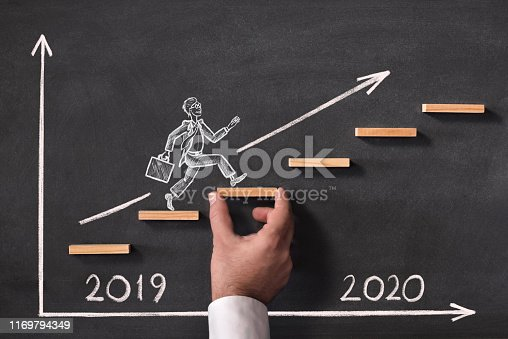 istock Business Progress And Challenge Concept For New Year 2020 1169794349