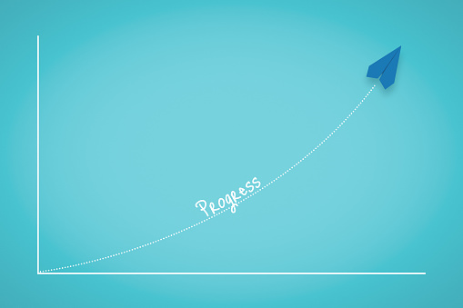 istock Business Progress Chart With Paper Plane 1206208651