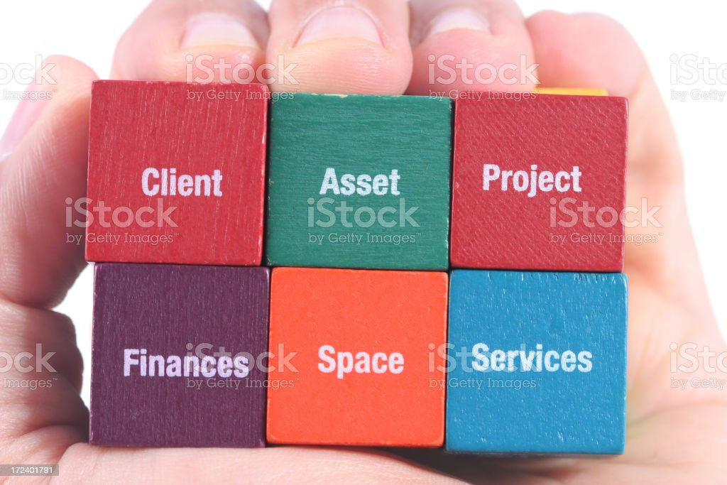 Business puzzle cube in hand royalty-free stock photo