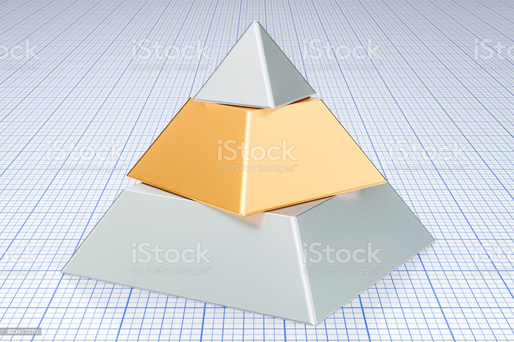 Business pyramid concept. 3D rendering stock photo
