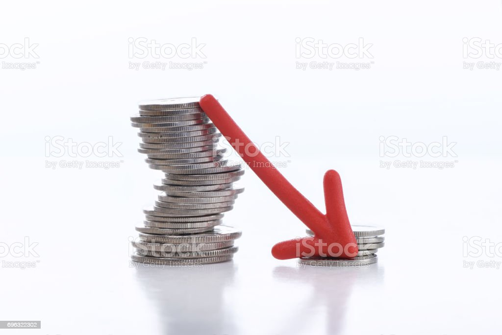 Business recession concept and crisis idea stock photo