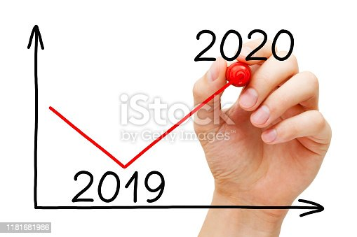istock Business Recovery Graph For Year 2020 Concept 1181681986