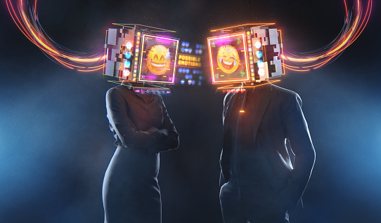 Business relations 3D render futuristic concept. Man and woman expressing emojis