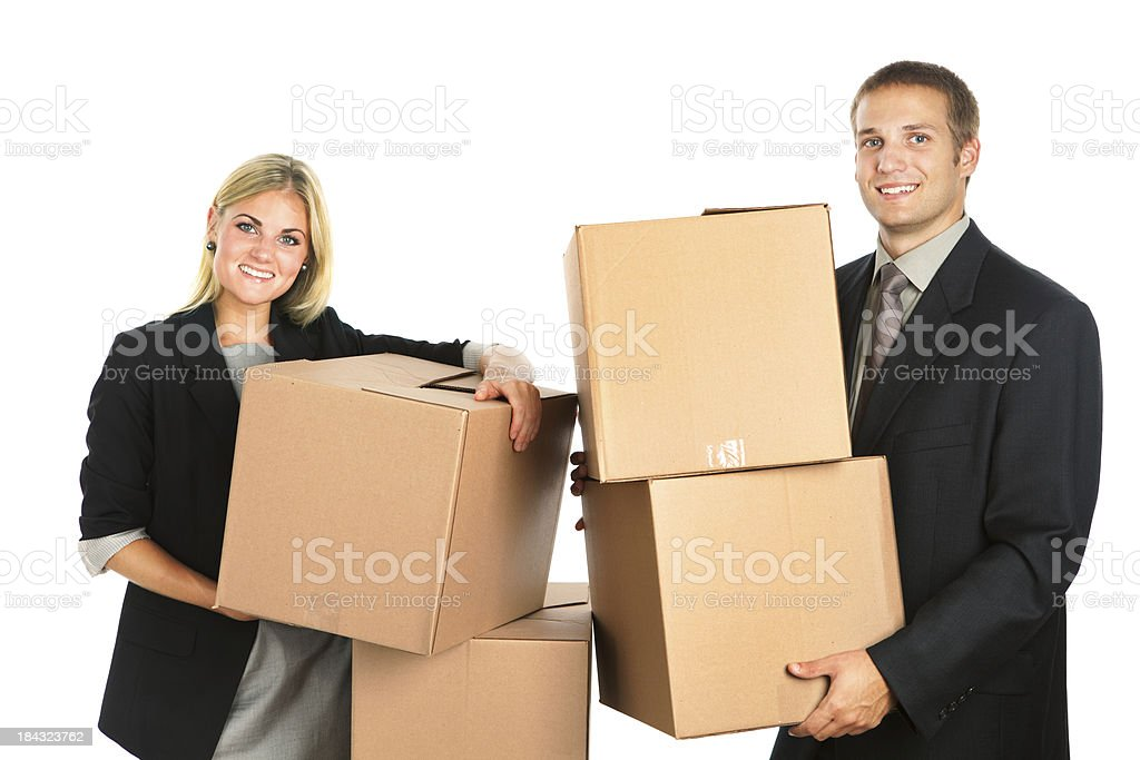 Business Relocation Office Workers with  Cardboard Moving Boxes royalty-free stock photo