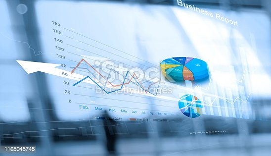 istock Business report and analyzing sales data on networking, Abstract interface, and economic growth graph chart with social network diagram, digital marketing. 1165045745