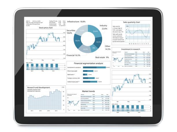 Geschäftsbericht-Chart-Analyse Tablet-Computer – Foto