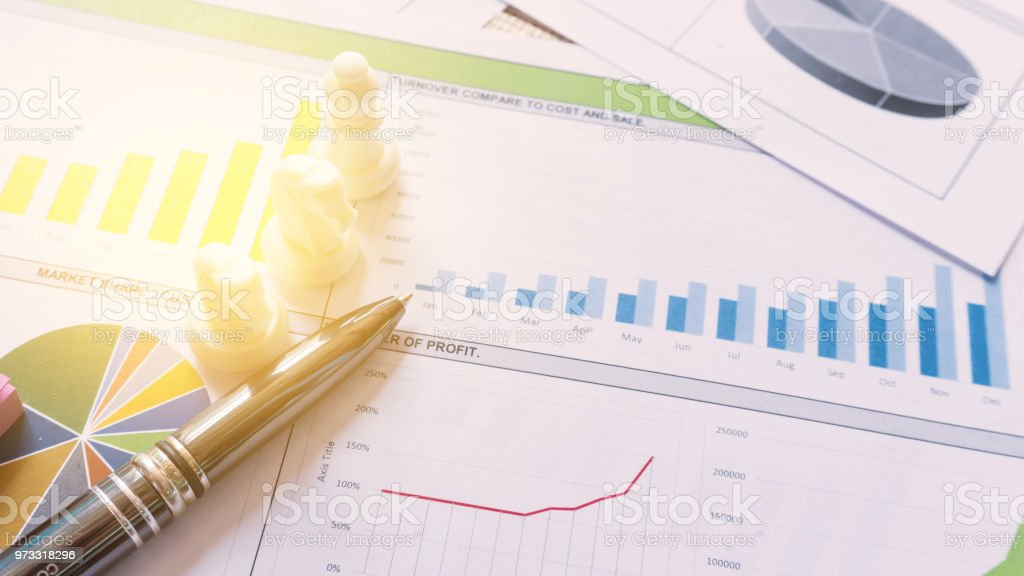 Business report statement for analysis and review market share and budget stock photo