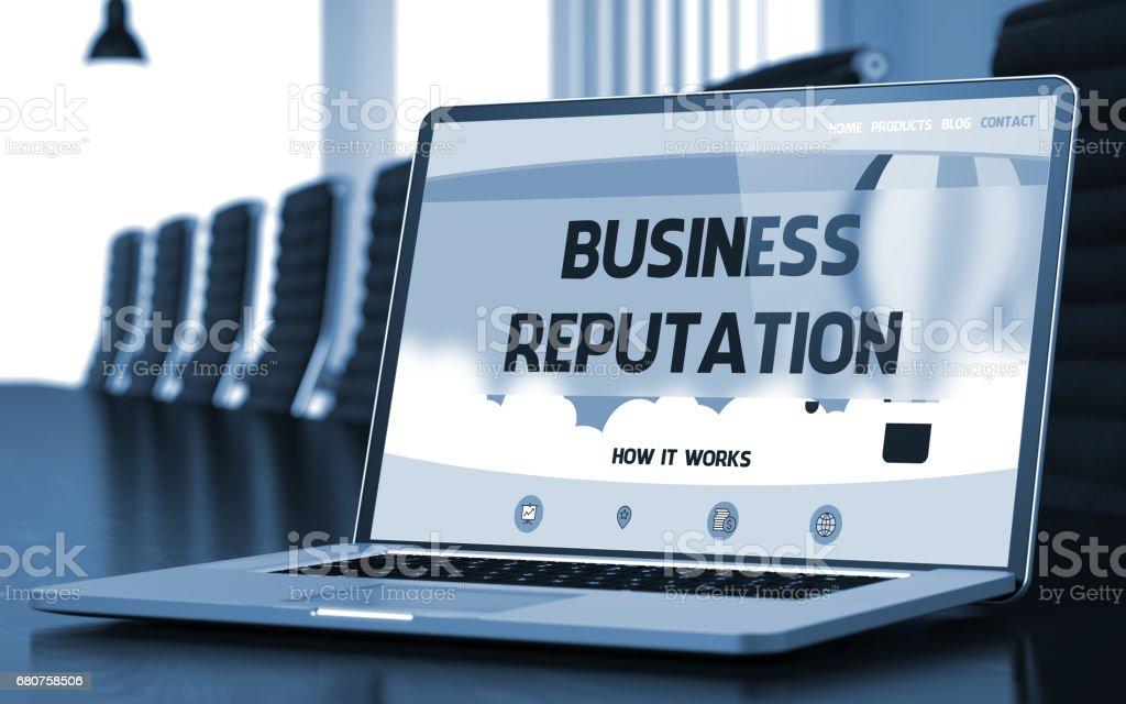 Business Reputation - on Laptop Screen. Closeup. 3D - foto stock