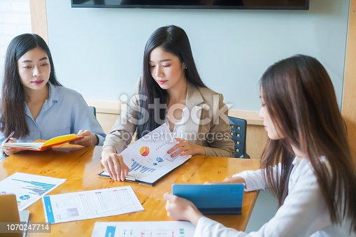1032388356 istock photo Business research, economic, budget concept, Supervisor discussing henchman to meeting for business graph chart strategy and finance plan in office. casual concept. 1070247714
