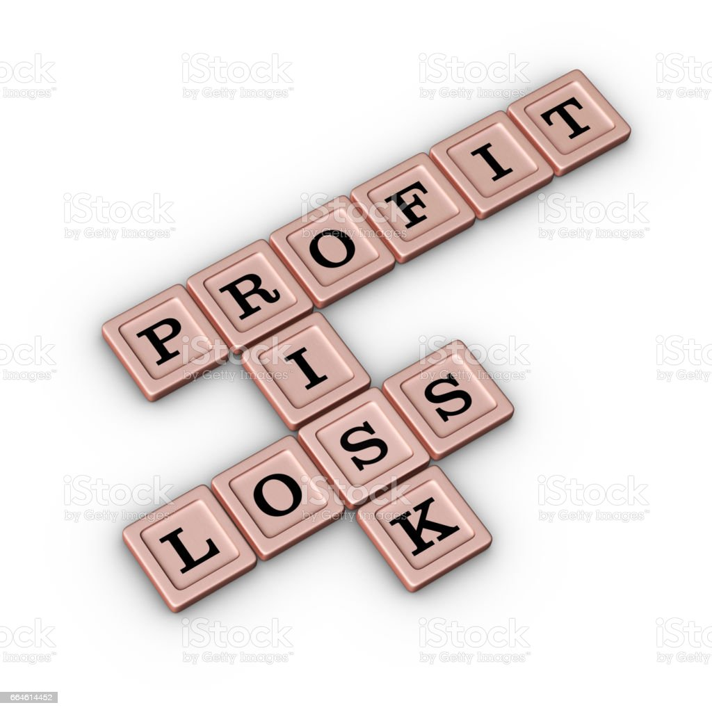 Business Risk Profit and Loss Crossword Puzzle. Risk Manegement concept. stock photo