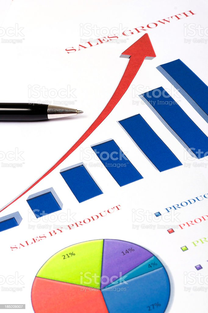 Business sales concept using bar and pie charts royalty-free stock photo