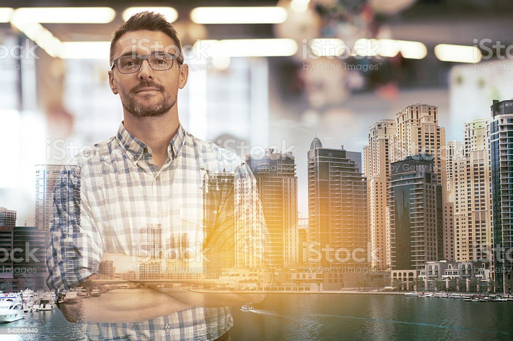 Business savvy in the city stock photo