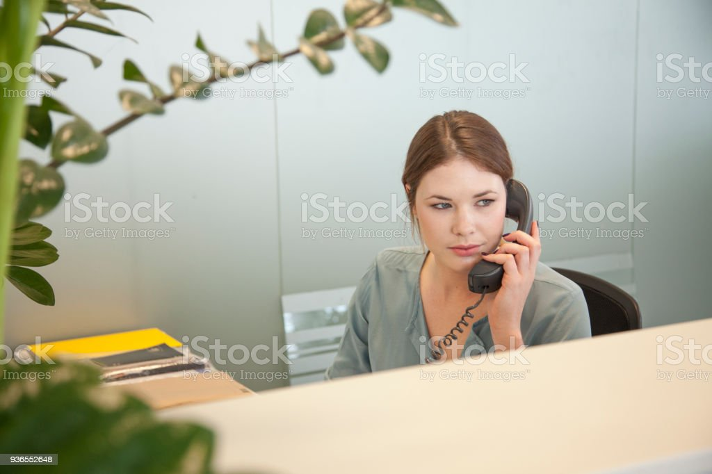 Business secretary on the phone stock photo