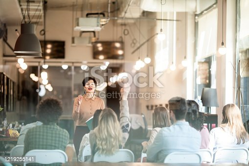 603992132 istock photo Business Seminar: Businesswoman Gives a Presentation to a Crowd of People 1219255141
