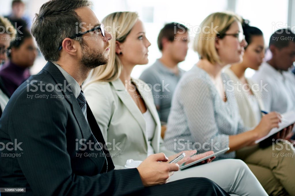 Business seminar in progress stock photo