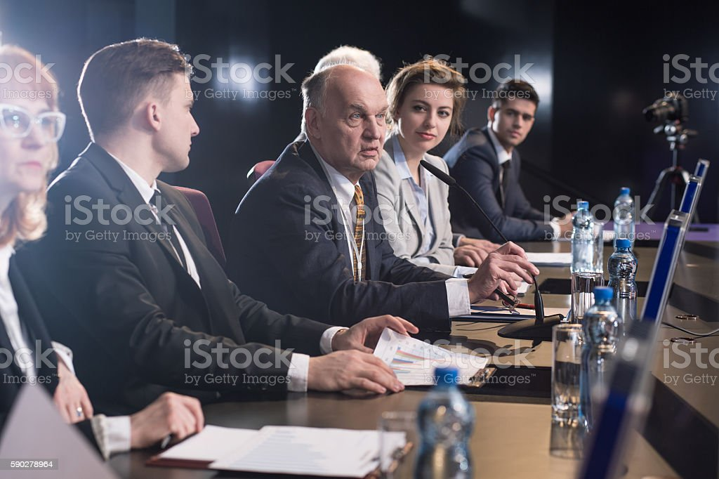 Business seminar or conference stock photo
