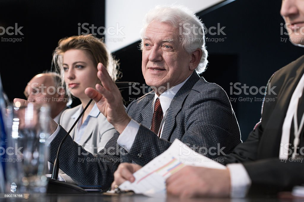 Business seminar panel stock photo
