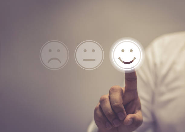 business service satisfaction concept - feedback icon imagens e fotografias de stock