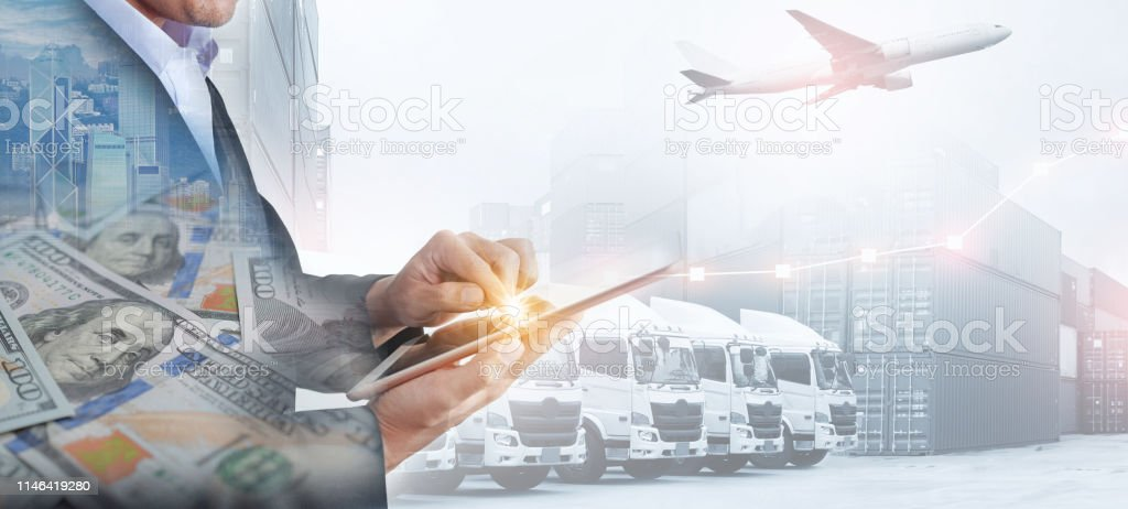 Business, shipping industry and transportation background by business...