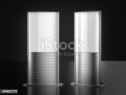 istock Business sign poster stand for floor double sided revolving floor light box tower. 3d render illustration. 959892278