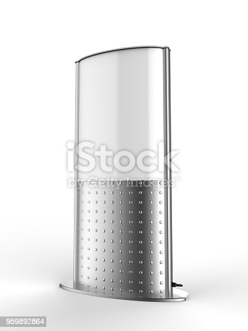 1051623396 istock photo Business sign poster stand for floor double sided revolving floor light box tower. 3d render illustration. 959892864