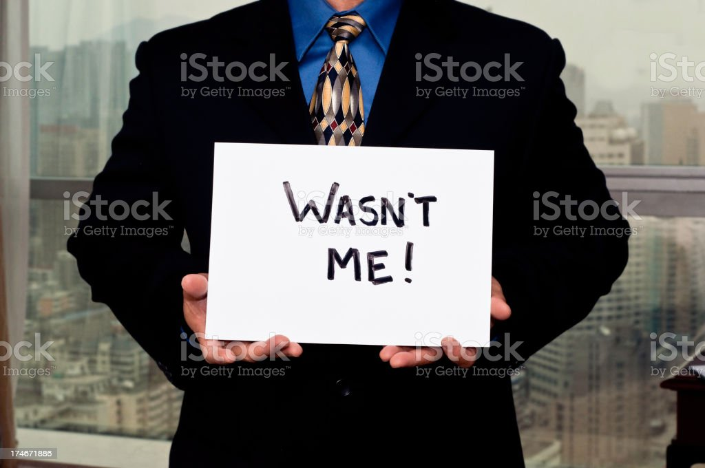 Business Sign Wasn't Me! royalty-free stock photo