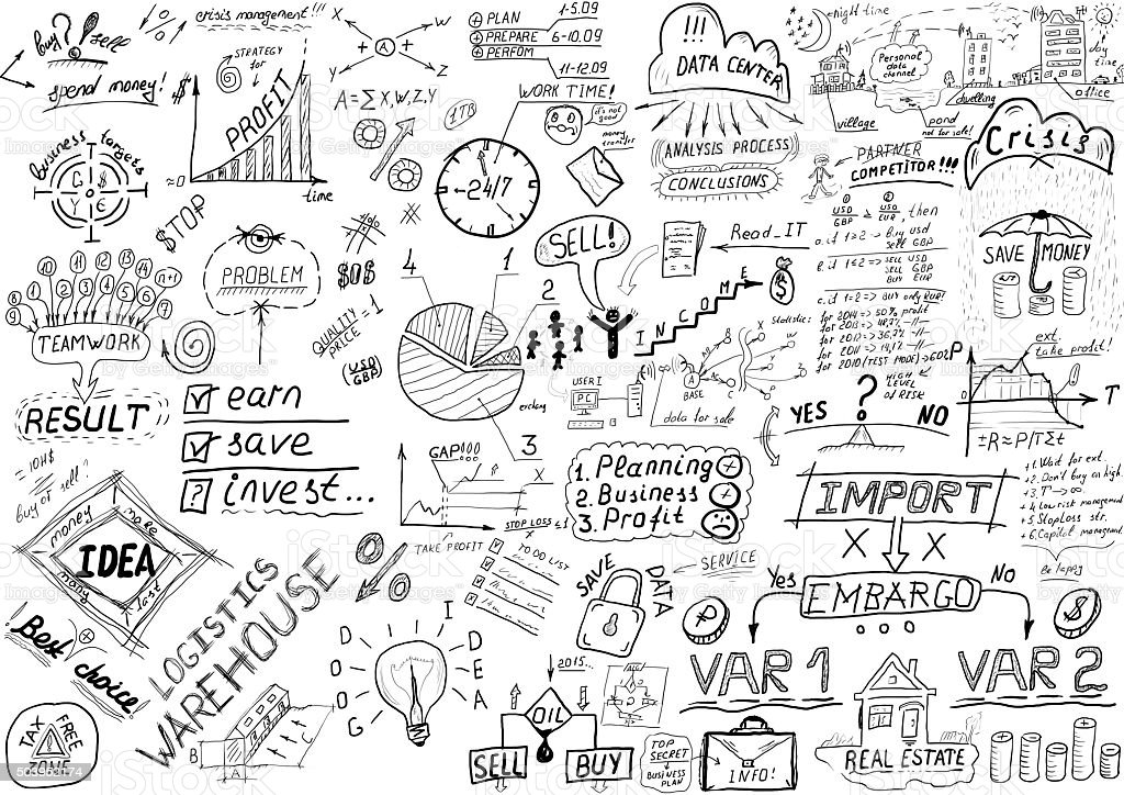 Business Sketches By Hand Stock Photo More Pictures Of Black Color