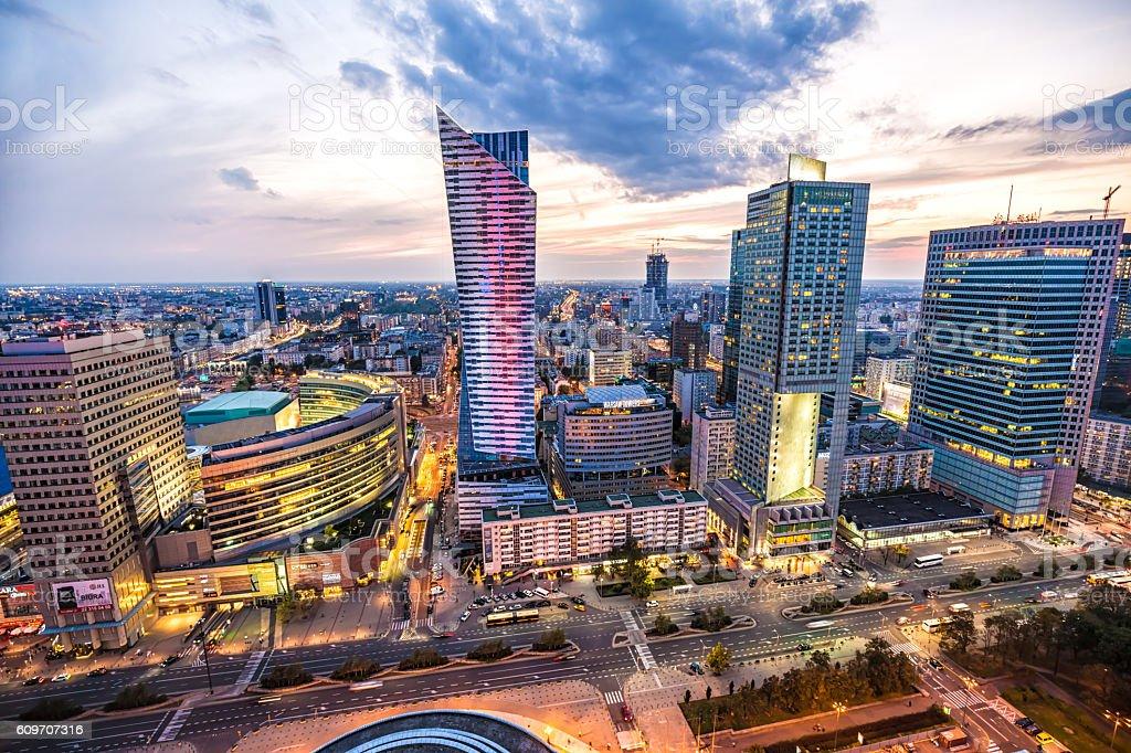 Business Skyline Warsaw - Royalty-free Akşam karanlığı Stok görsel