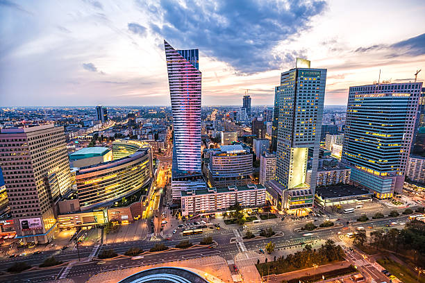 business skyline warsaw - poland stock photos and pictures