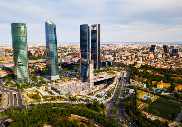 Business skyscrapers Cuatro Torres in Madrid stock photo