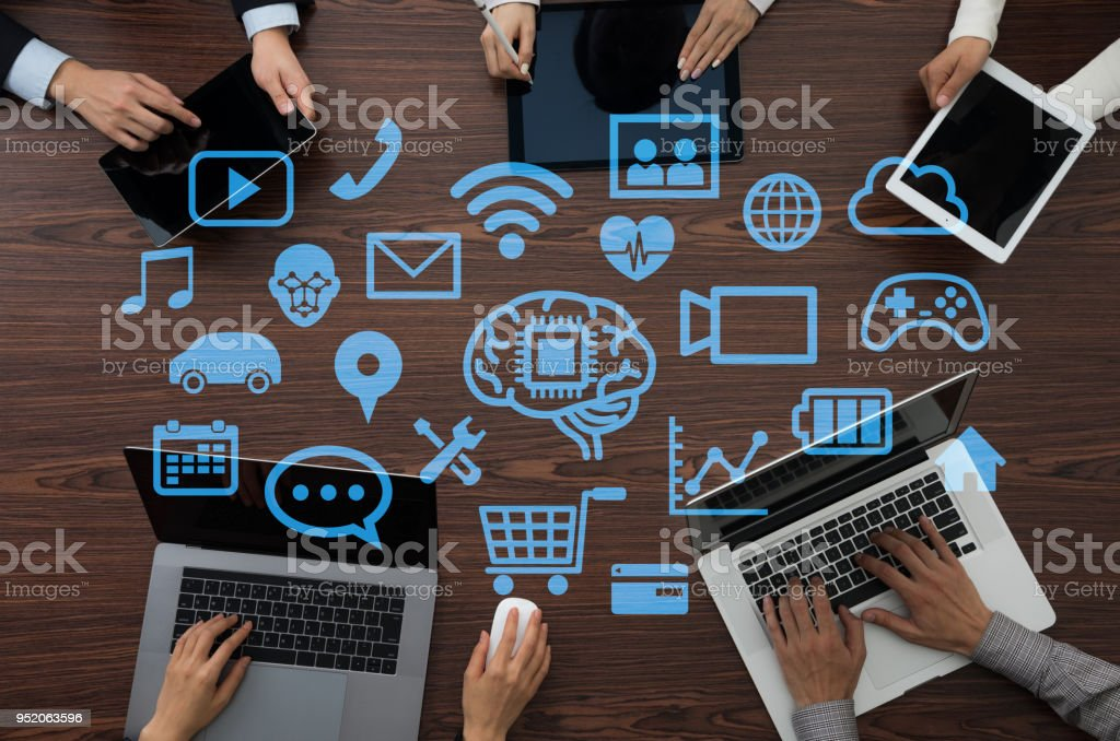 Business software concept. AI. Artificial Intelligence. stock photo
