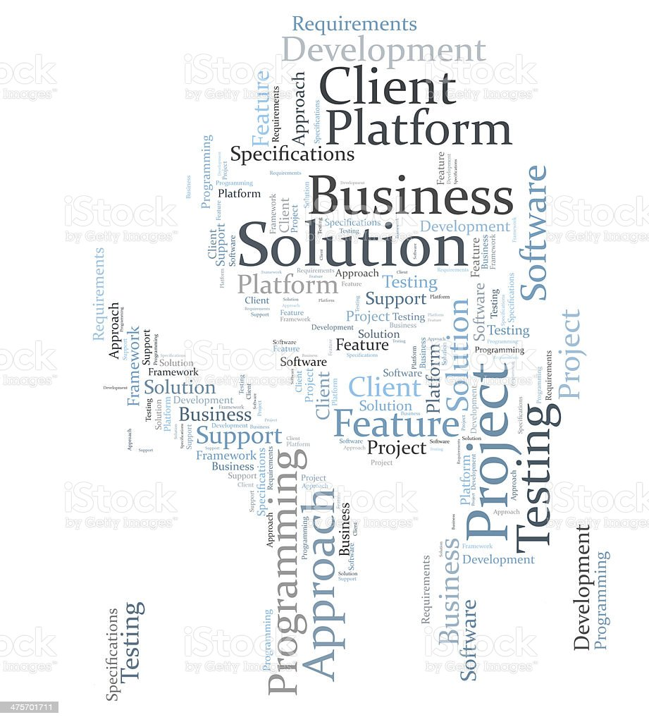 Business solution word cloud stock photo