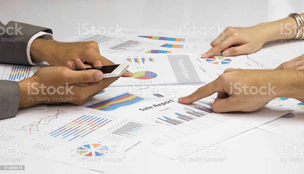 Business start up co-working with documents, success together stock photo