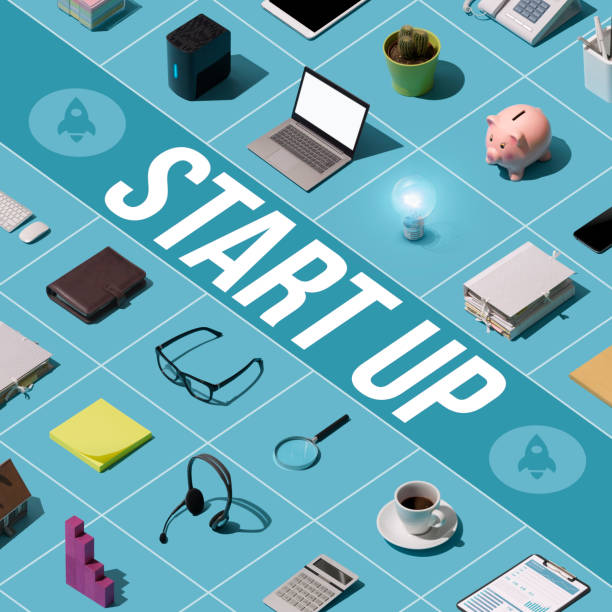 business start up launch - advertising isometric stock photos and pictures