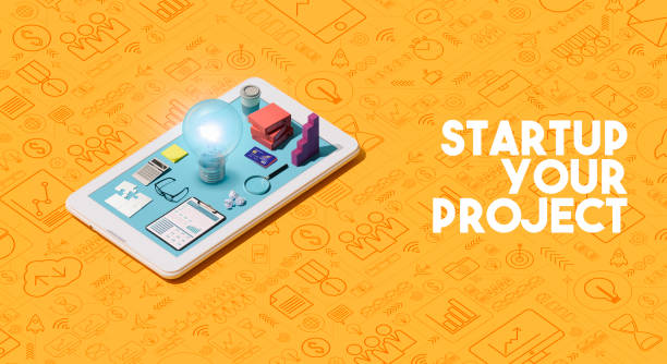 business start up project launch - advertising isometric stock photos and pictures