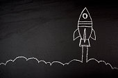 Business startup on blavkboard