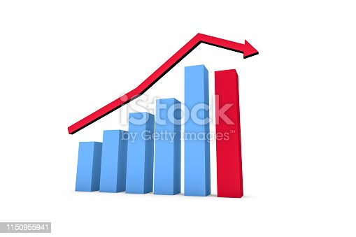 istock Business Statistic Fail of Graph Chart 1150955941