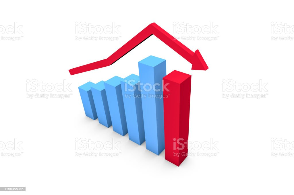 3d rendering, front view of business statistic increasing graph...