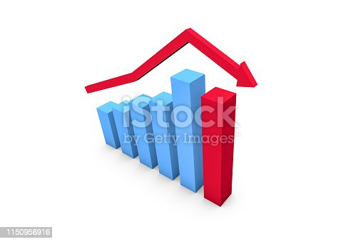 istock Business Statistic Fail of Graph Chart 1150956916