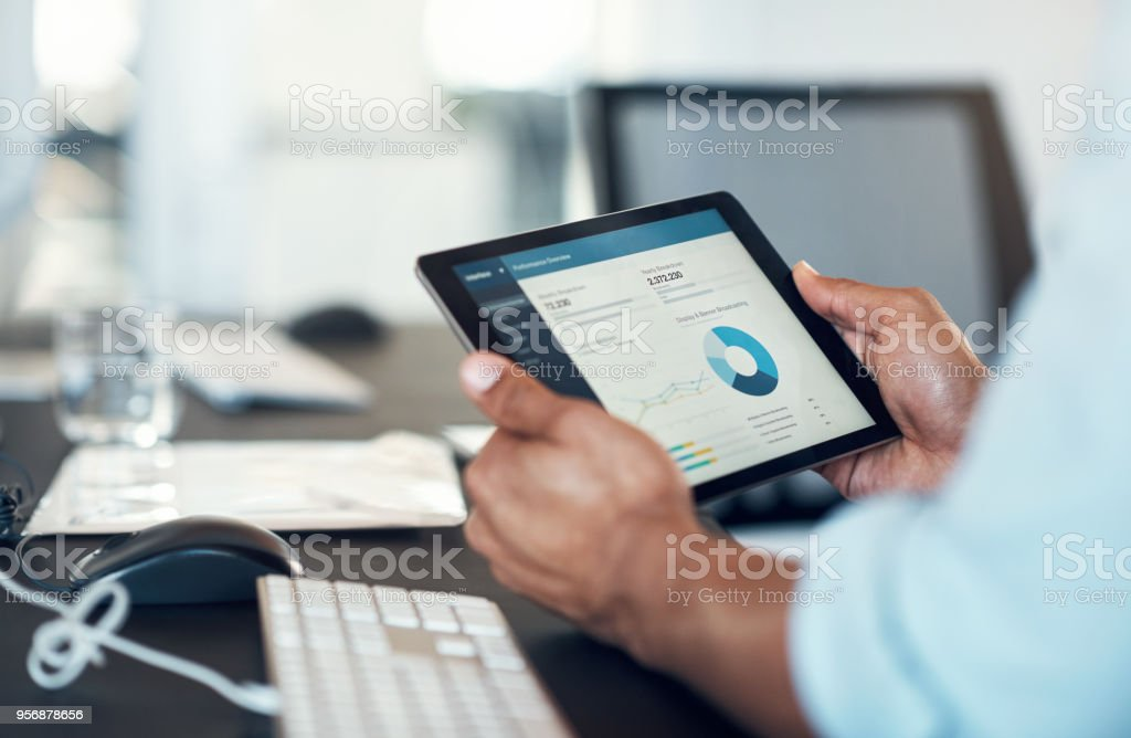 Business stats in the form of an app stock photo