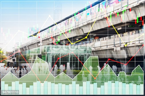 istock Business stock index background of heavy construction industry and infrastructure for urban center system shown growth economic situation. 947901110