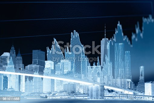 istock Business stock market chart graph investment future office building 981611588