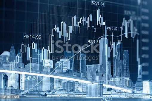 istock Business stock market chart graph investment future office building 981611884