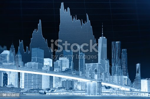 istock Business stock market chart graph investment future office building 981613310