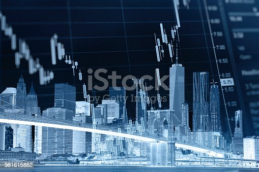 istock Business stock market chart graph investment future office building 981615852